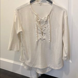 Madewell lace up cream shirt XS